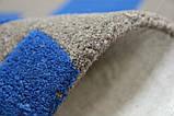Необычный дизайнерский ковер абстракция синие прямоугольники на сером фоне, фото 5