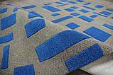 Необычный дизайнерский ковер абстракция синие прямоугольники на сером фоне, фото 6