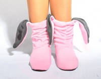 Тапочки зайчики розовые c серыми ушами