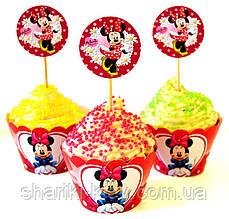 Набор топперов и корзинок для капкейков  Минни Маус 6 шт. бумажные на День рождения в стиле Минни Маус