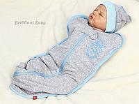 Евро-пеленка серая летняя для новорожденных на молнии, Leo Boy