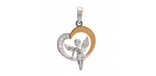 Серебряная подвеска Ангел в сердце