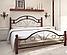 Кровать металлическая Диана на деревянных ногах двуспальная, фото 2