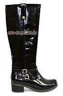 Сапоги женские лаковые демисезонные на невысоком каблуке, фото 1