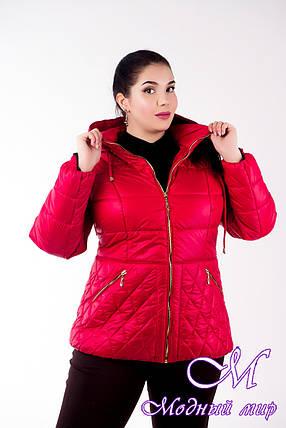 Женская осенняя куртка большого размера красная (р- 46-50) арт. Куртка № 27, фото 2