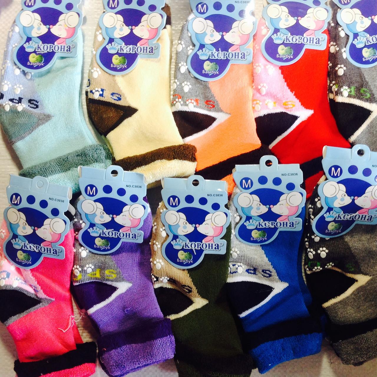 Махровые детские носочки S M с тормозами Корона