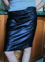 Оригинальная кожаная юбка черная