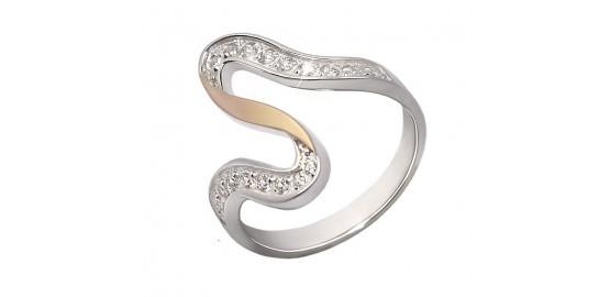 Серебряное кольцо с камнями и позолотой