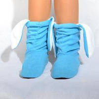 Тапочки зайчики Голубые с Белыми ушами