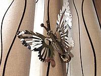 Бабочка для штор металлическая цвет серебро