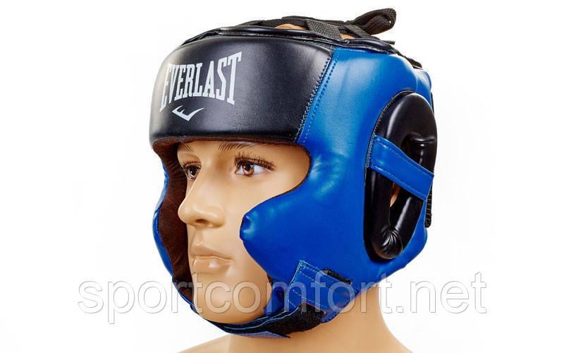 Шлем боксерский в мексиканском стиле Elast Flex( полиуретан ) M, L, XL черно-синий