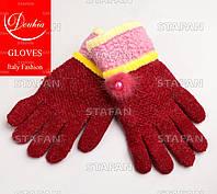 Шерстяные перчатки с начёсом на девочку Douhia DP05-3-R