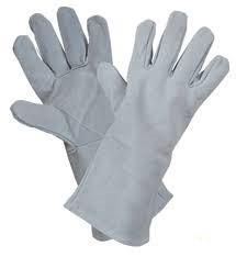 Перчатки спилковые с крагой серые