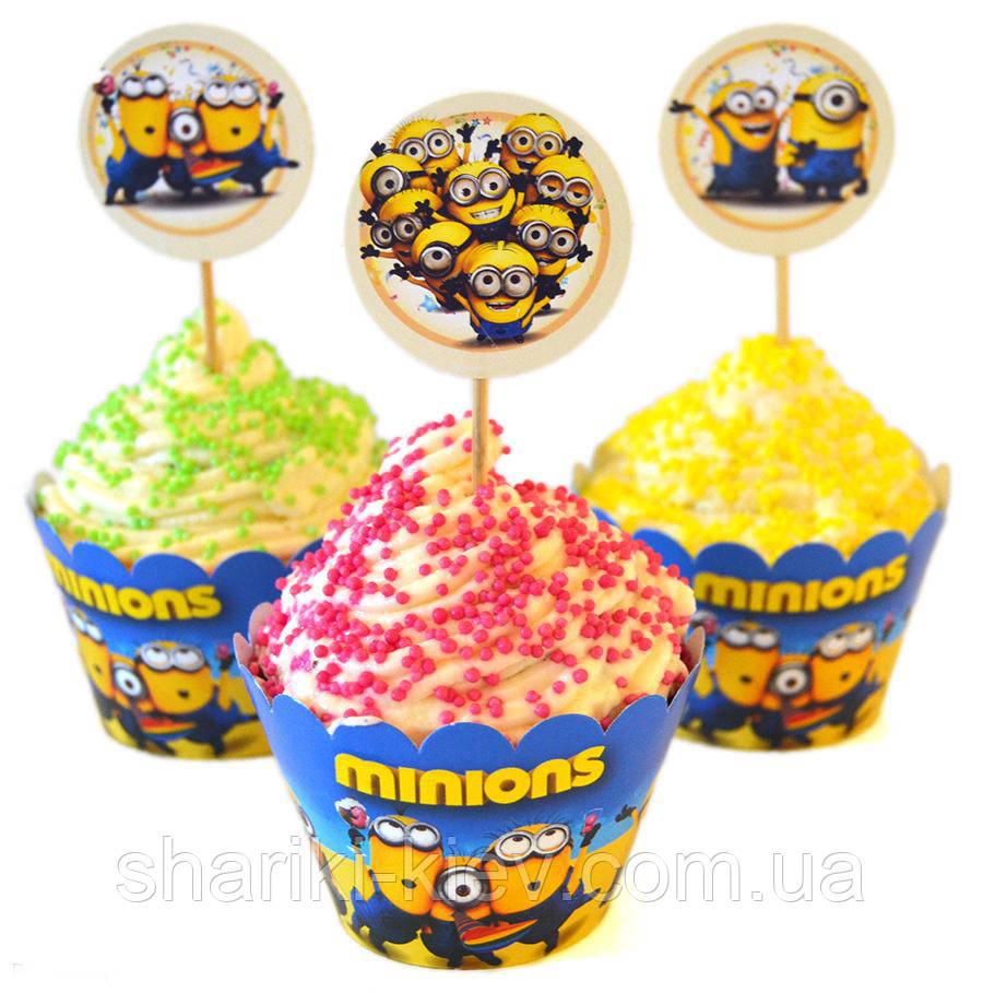 Набор топперов и корзинок для капкейков  Миньоны 6 шт. бумажные на День рождения в стиле Миньоны