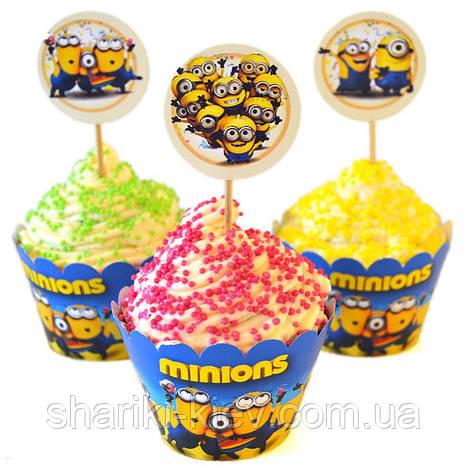 Набор топперов и корзинок для капкейков  Миньоны 6 шт. бумажные на День рождения в стиле Миньоны, фото 2