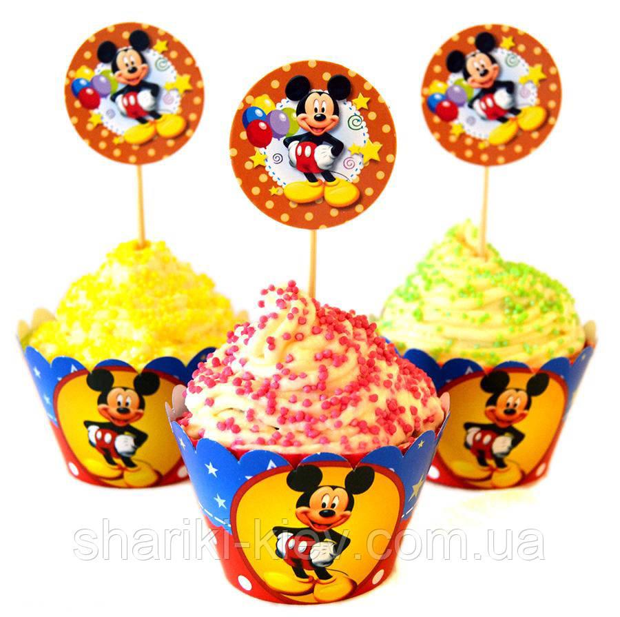 Набор топперов и корзинок для капкейков  Микки Маус 6 шт. бумажные на День рождения в стиле Микки Маус