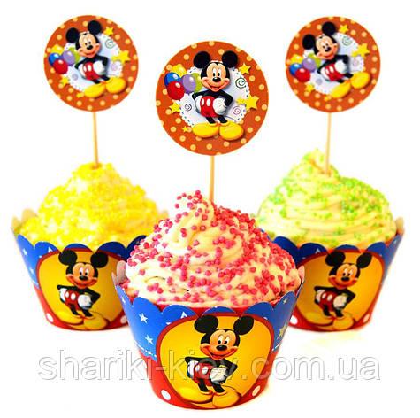 Набор топперов и корзинок для капкейков  Микки Маус 6 шт. бумажные на День рождения в стиле Микки Маус , фото 2