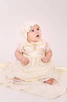 Набор крестильный для девочки с гипюром молочный размер 62, 74
