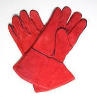 Перчатки спилковые с крагой красные