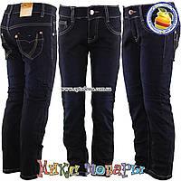 Темно синие джинсы с флисом для девочек от 6 до 12 лет (vn4867)