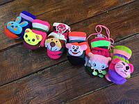 Мультяшные детские варежки с мягкой игрушкой
