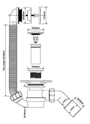 Сифон автомат для ванн ТМ McAlpine HC2600CL слив/перелив клик клак с верхней ревизией, фото 2