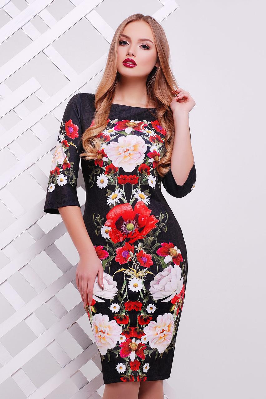 Платье облегающее, нарядное, вечернее с принтом маки