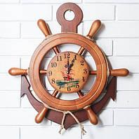 Деревянные часы Штурвал с якорем 45 см ручной работы. Подарок в морском стиле