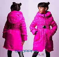 Зимняя длинная куртка для девочки на молнии