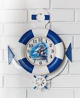Настенные деревянные часы Спасательный круг с якорем см. Ручная работа