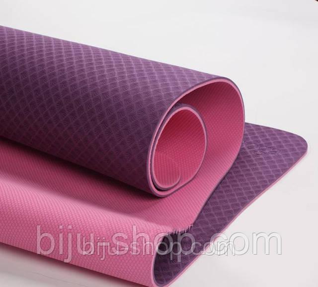 Коврик для йоги LOTUS, двусторонний, 183х61 см, 6 мм