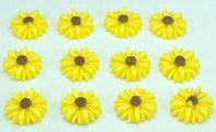 Кабашоны цветочки 50шт Ф1,1см желтые 6-6