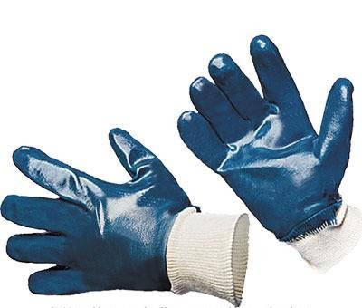 Перчатки нитрильные синие байковая подкладка, фото 2