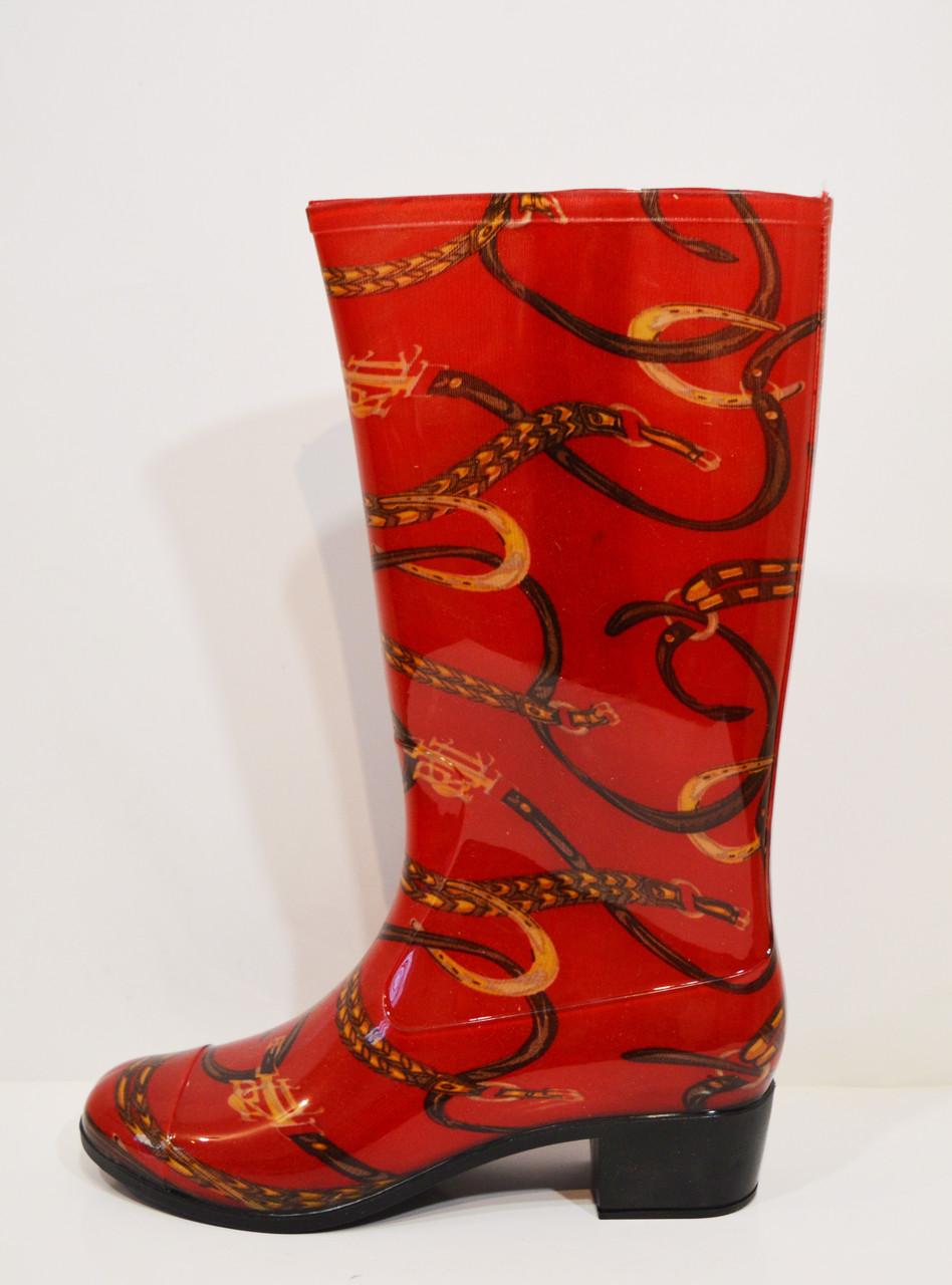 Женские резиновые красные сапоги