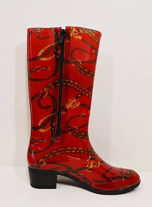Женские резиновые красные сапоги , фото 2