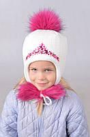 Зимняя шапка для девочки с камнями 8125