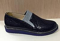 Туфли женские PLAMARI из лакированной кожи под рептилию на ровной подошве