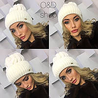 Белая женская шапка Вязка белая