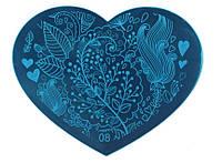 Пластина сердечко для стемпинга, печать на ногтях 8