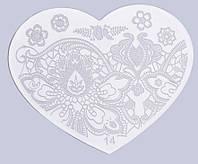 Пластина сердечко для стемпинга, печать на ногтях 14