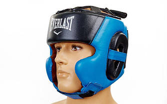 Шолом боксерський в мексиканському стилі відкритий Elast Leather ( шкіра ) XL синій