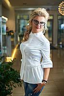 Блузка женская, Ткань: Хлопок 97%, 3% лайкра ,цвет белый, фото реал ,супер качество бис №1283