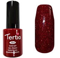 Гель-лак Tertio 114  Тёмно-красный с красными блёстками, плотный - хит продаж!, 10 мл.