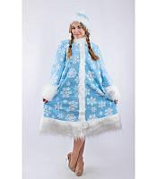 Костюм Снегурочки со снежинками для взрослого  к03