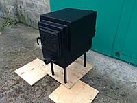 Стальная дровяная печь буржуйка-мини котел с тремя контурами