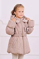 Куртка-пальто зимняя для девочки бежевый цвет 5 - 8 лет (размер 110-128)