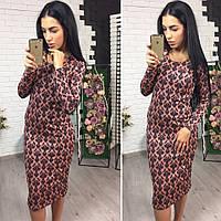 Женское модное платье с красивым узором (3 цвета)