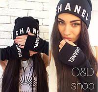Комплект Chanel минетки+шапка черная