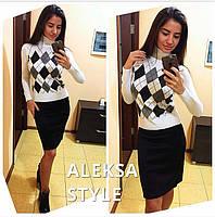 Женское модный свитерок-гольф (2 цвета)
