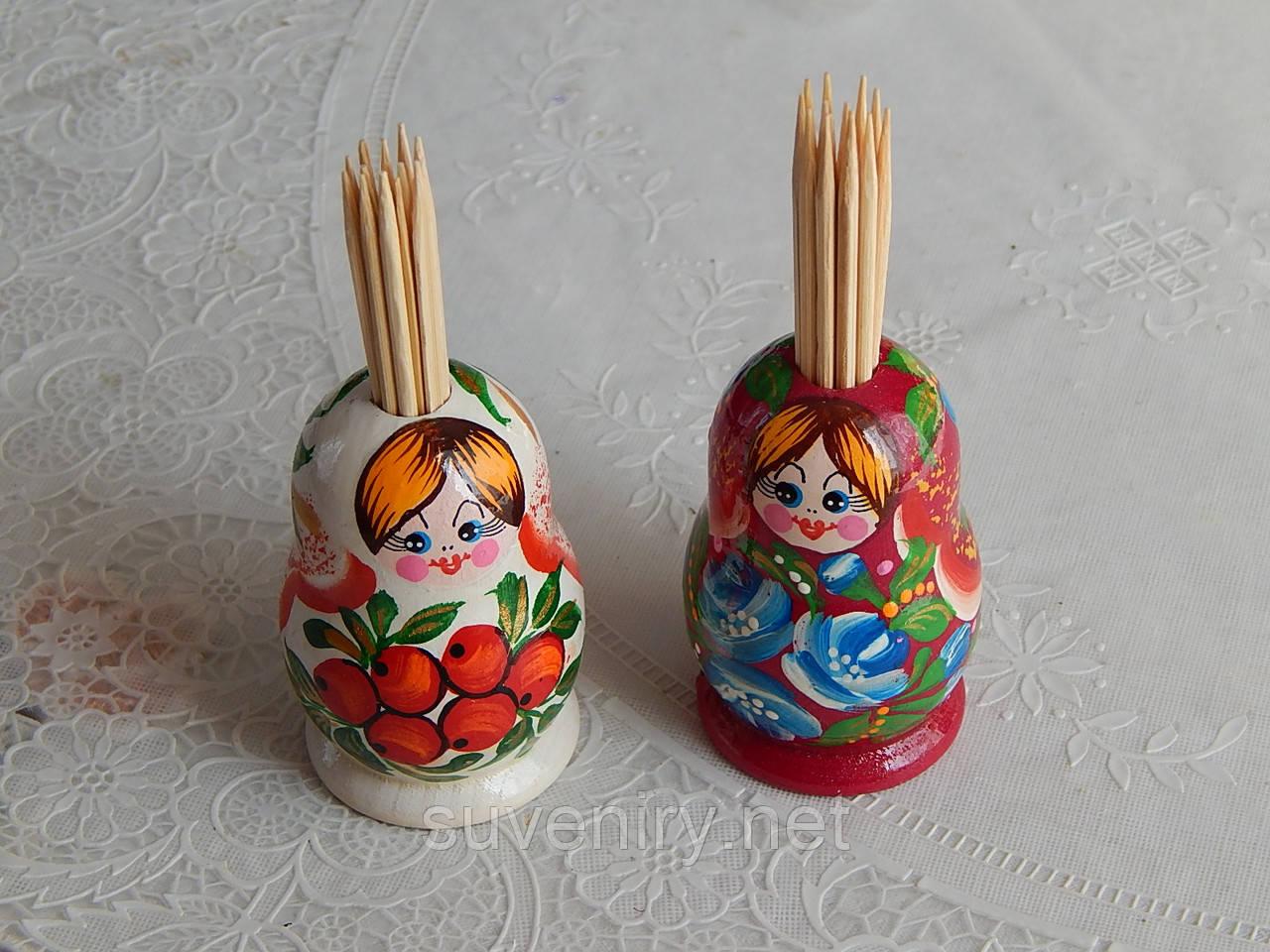 Сувенирная матрешка с зубочистками миниатюрная живопись